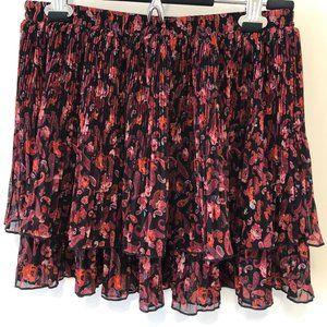 Ecote Medium Dark Red & Black Pleated Mini Skirt